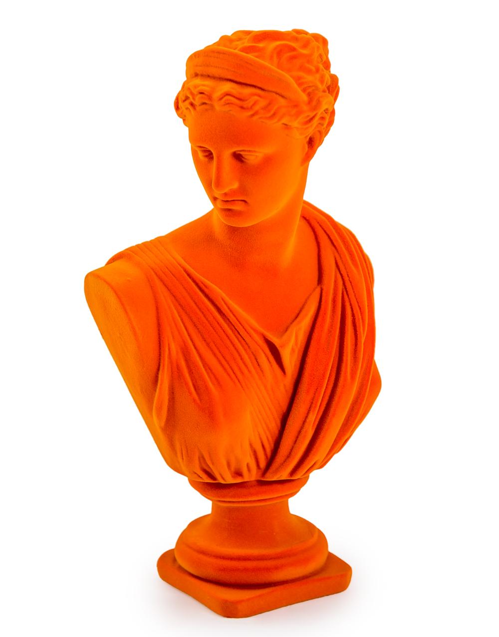 Large Flocked Artemis Bust Orange