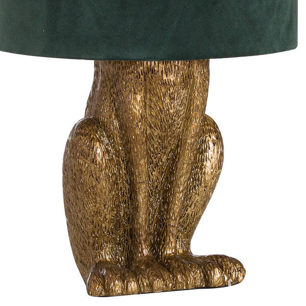 Antique Gold Hare Table Lamp + Green Velvet, Gold Lined Shade