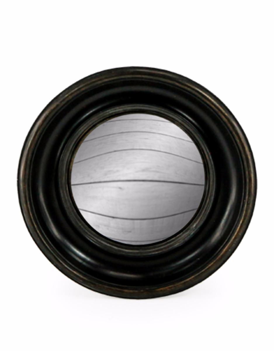 Black Rounded Convex Mirror Medium