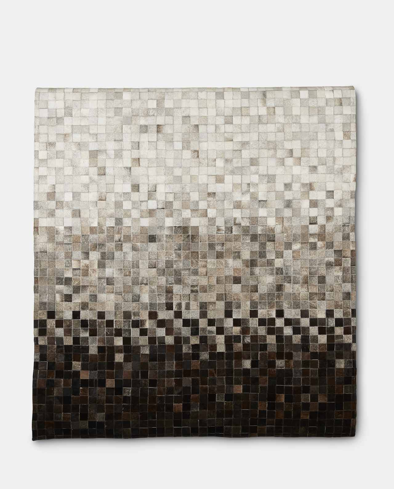 Charcoal & White Cowhide Leather Rug