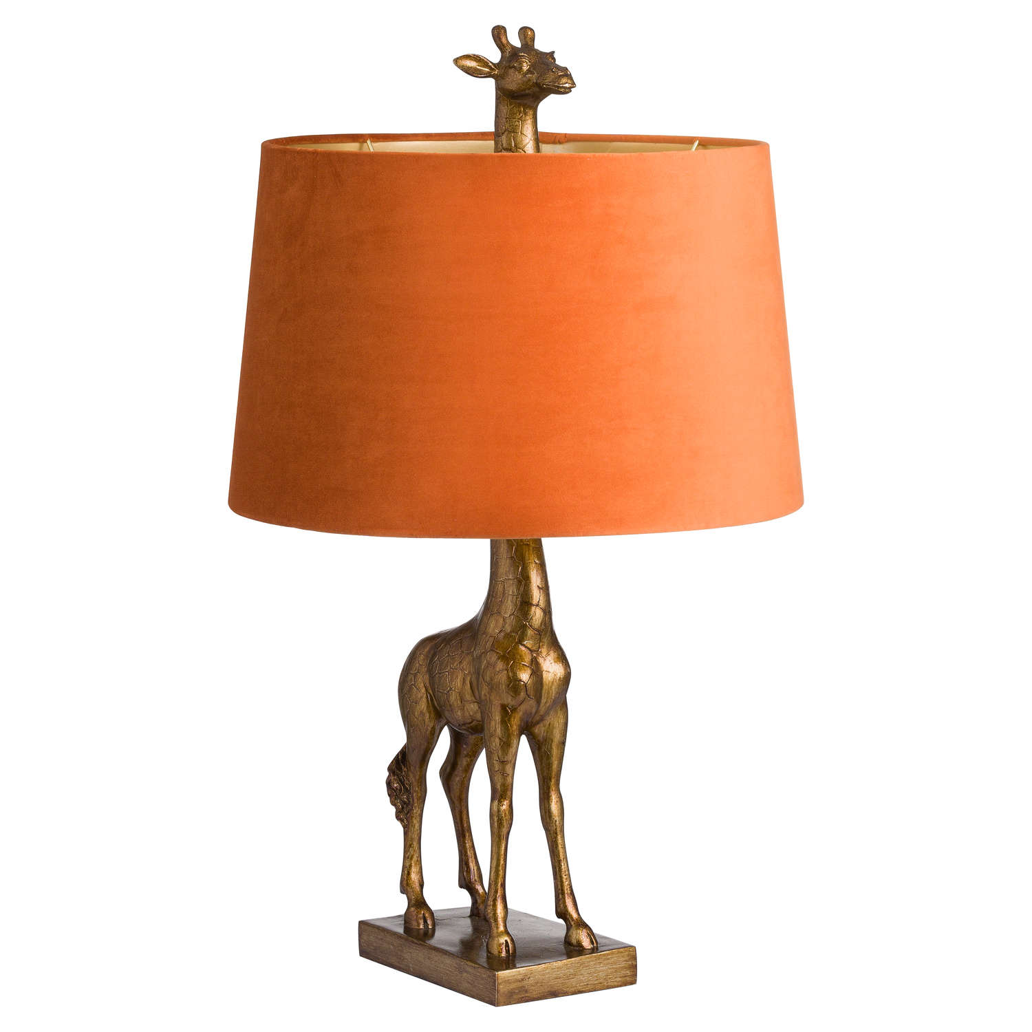 Antique Gold Giraffe Table Lamp + Burnt Orange Velvet Shade with Gold Lining