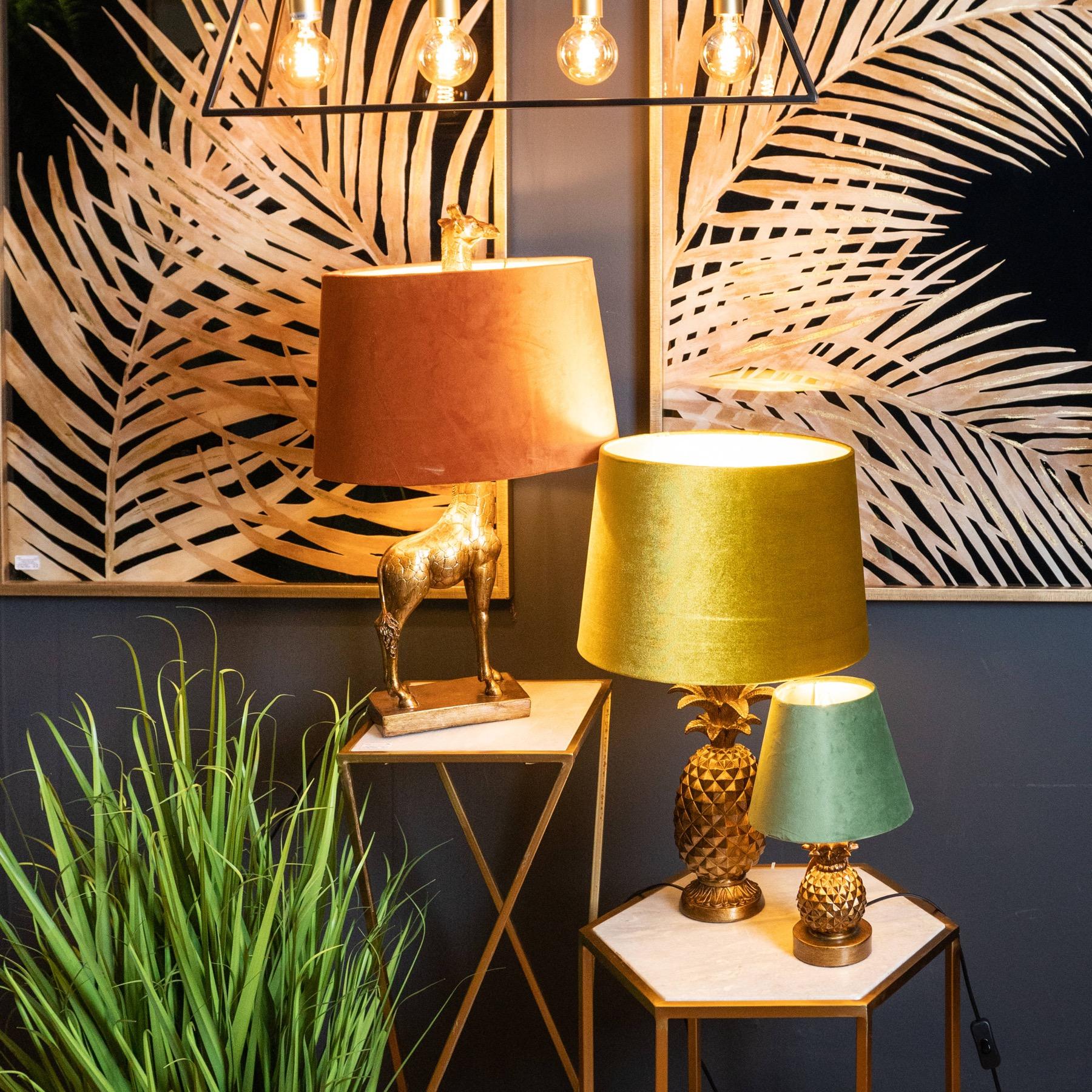 Antique Gold Giraffe Table Lamp + Burnt Orange Velvet Shade with Gold Lining