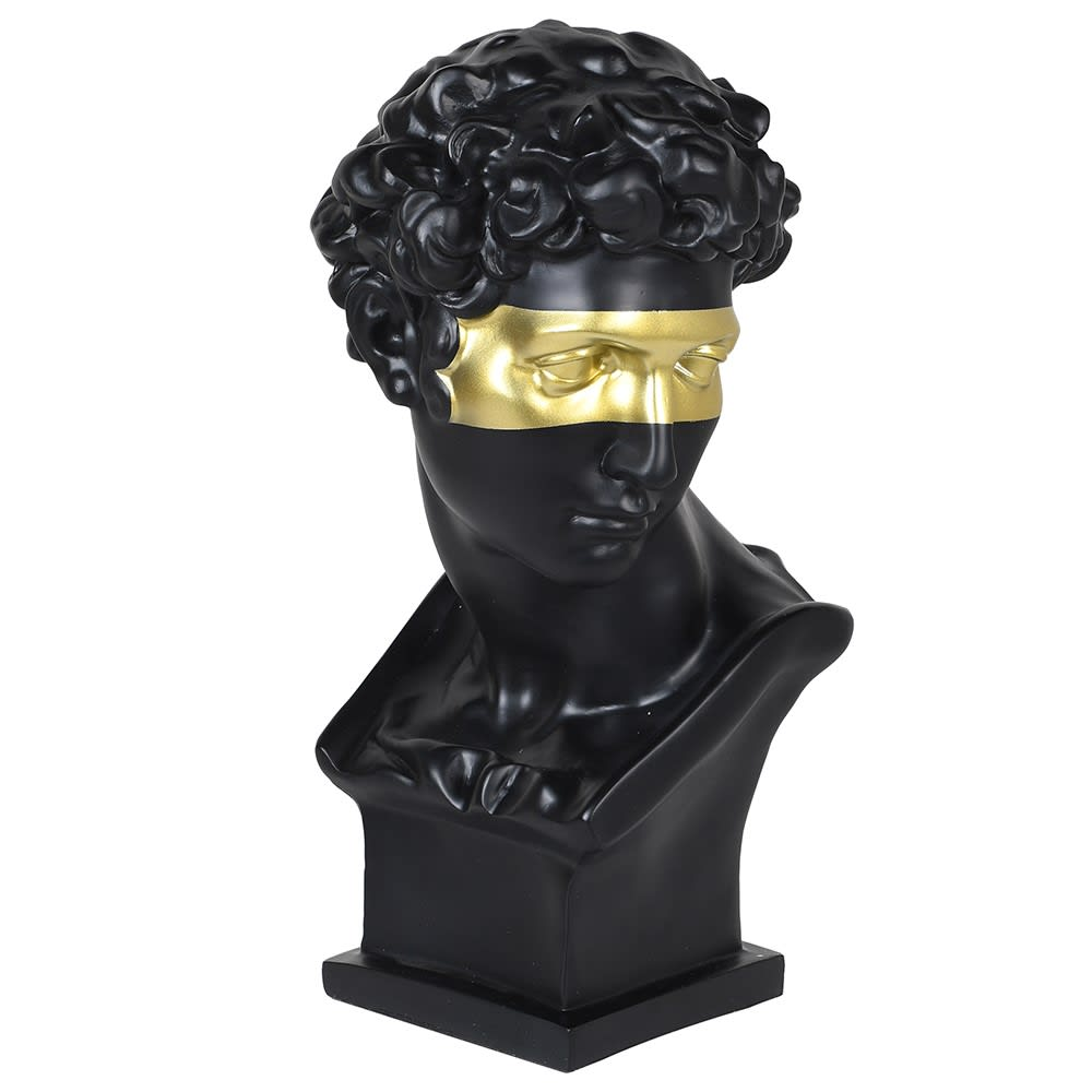 Black Head Bust with Gold Mask