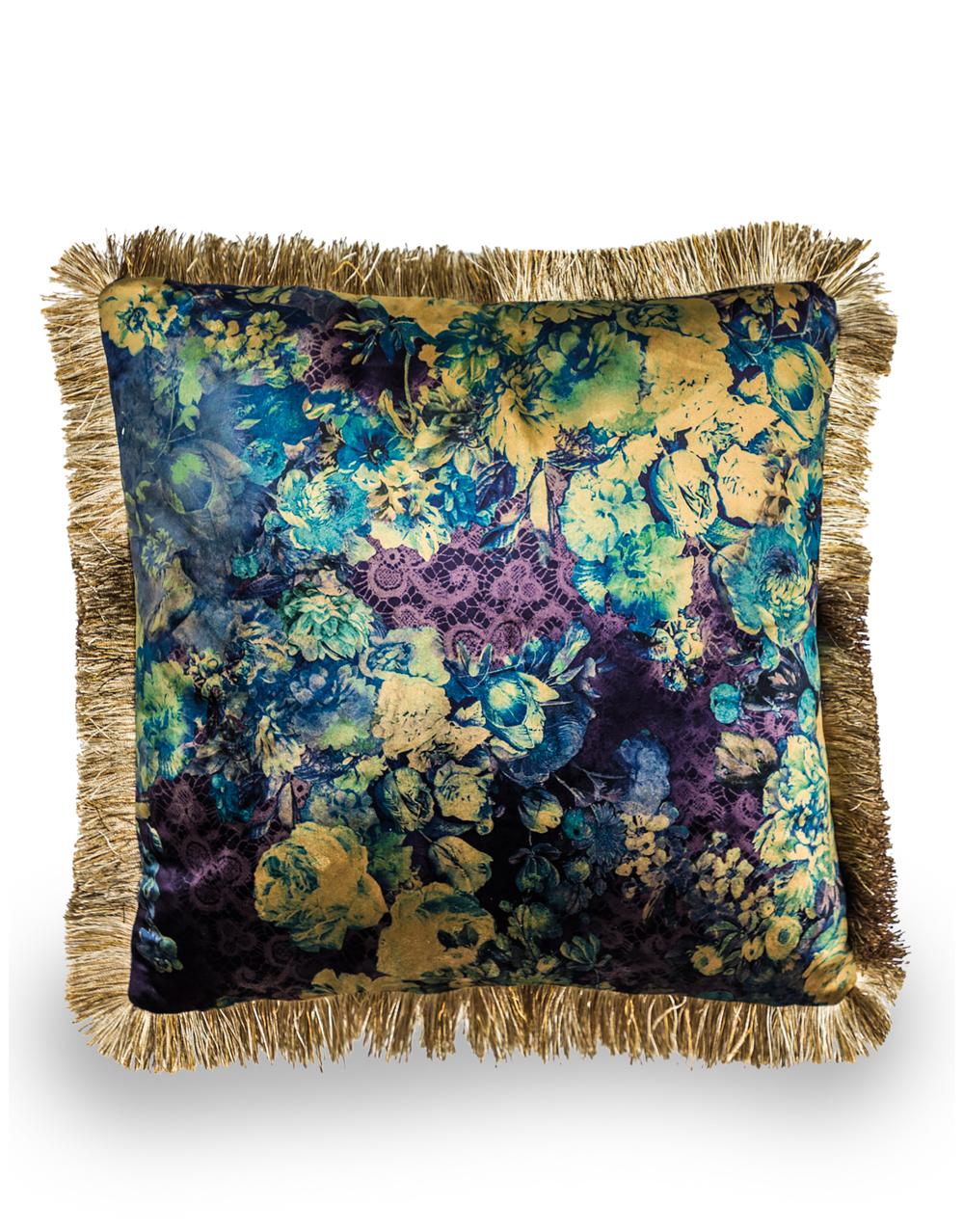 Boho Floral Velvet Cushion Blue with Champagne Fringe Detail