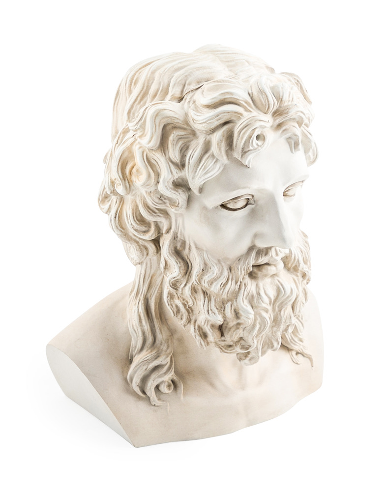 Stone Effect Zeus Bust