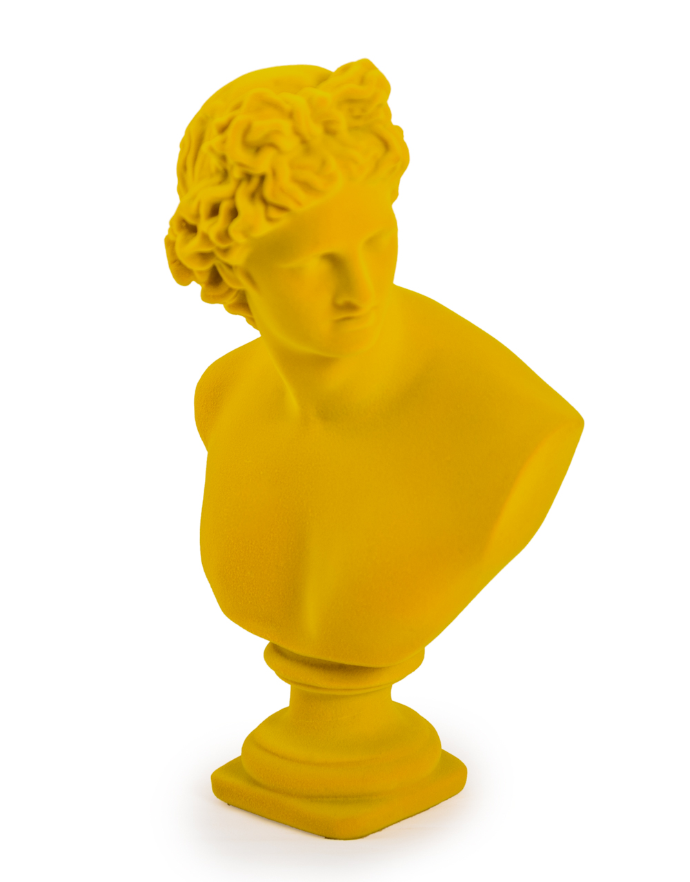Large Flocked Apollo Bust Yellow