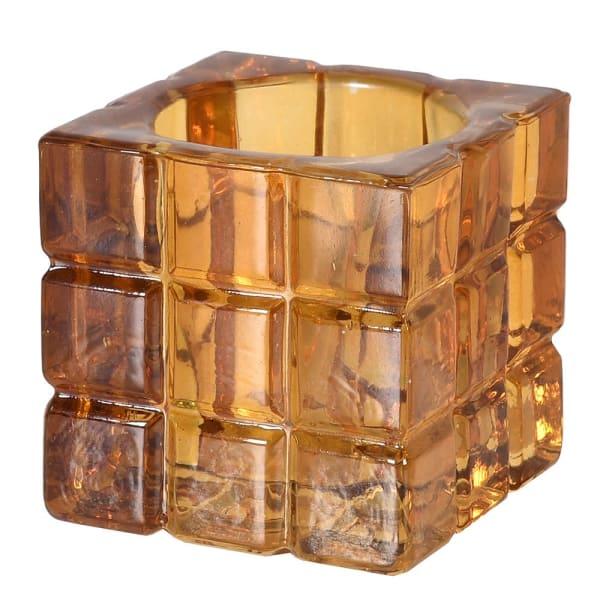 Amber Cube Tea Light Holder