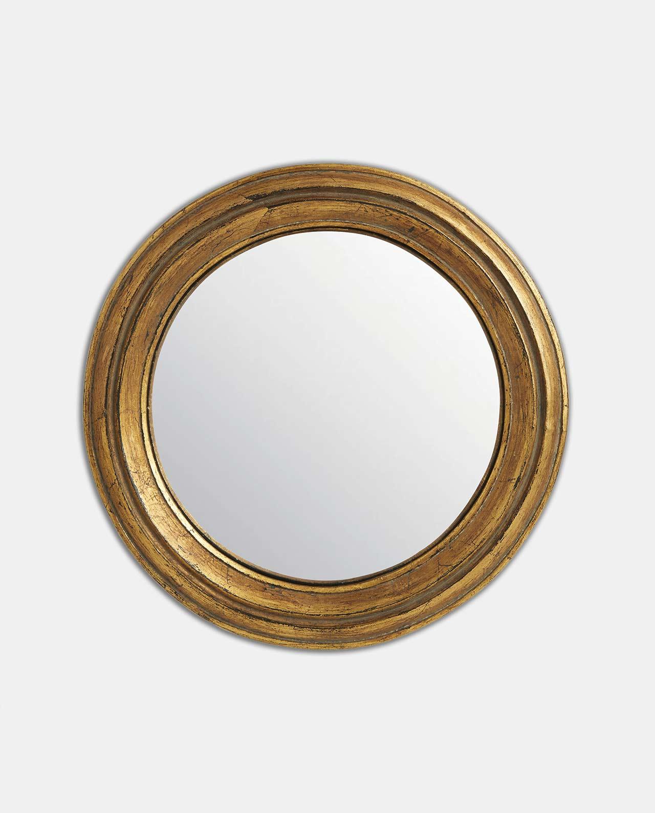 Gold Round Convex Mirror 23cm