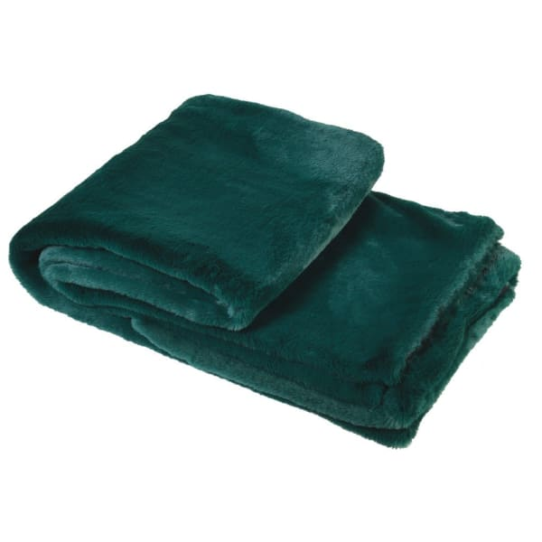 Green Faux Fur Throw