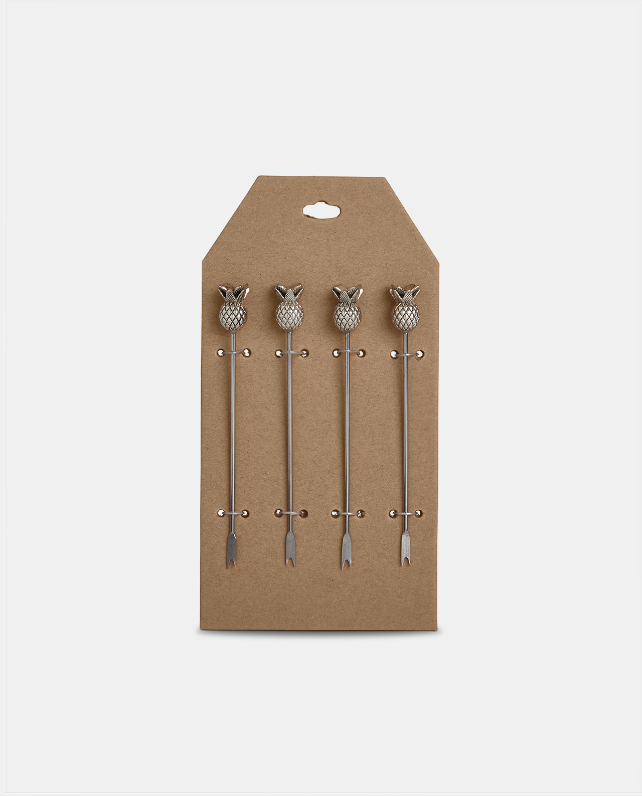 Silver Pineapple Cocktail Pick Set of 4