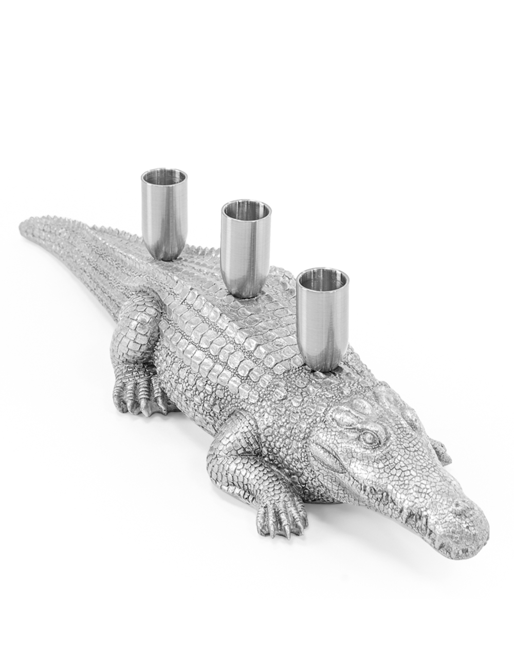 Antique Silver Crocodile Candle Holder