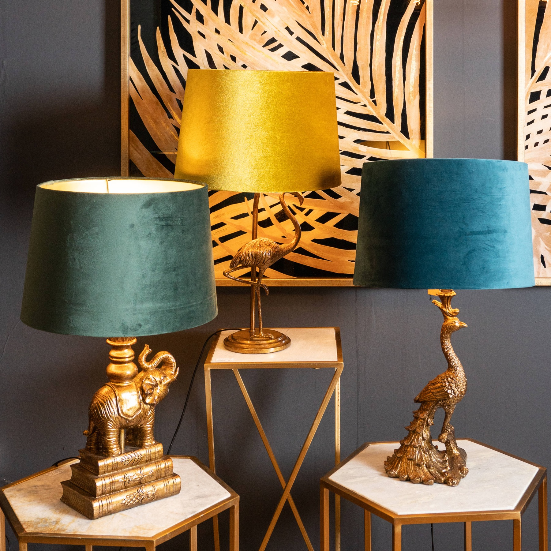 Antique Gold Peacock Table Lamp + Teal Velvet/Gold Shade