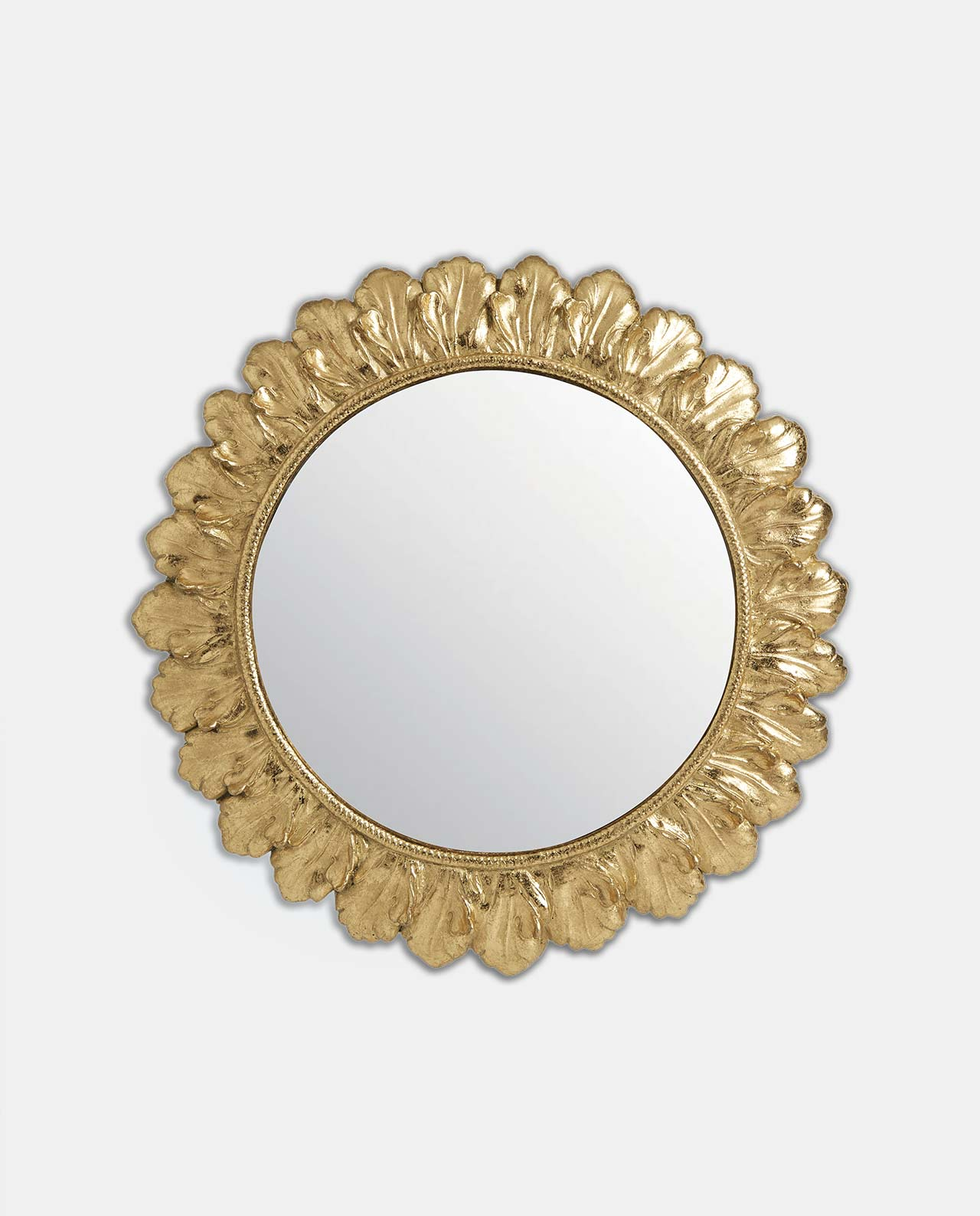 Gold Round Floral Design Convex Mirror 23cm