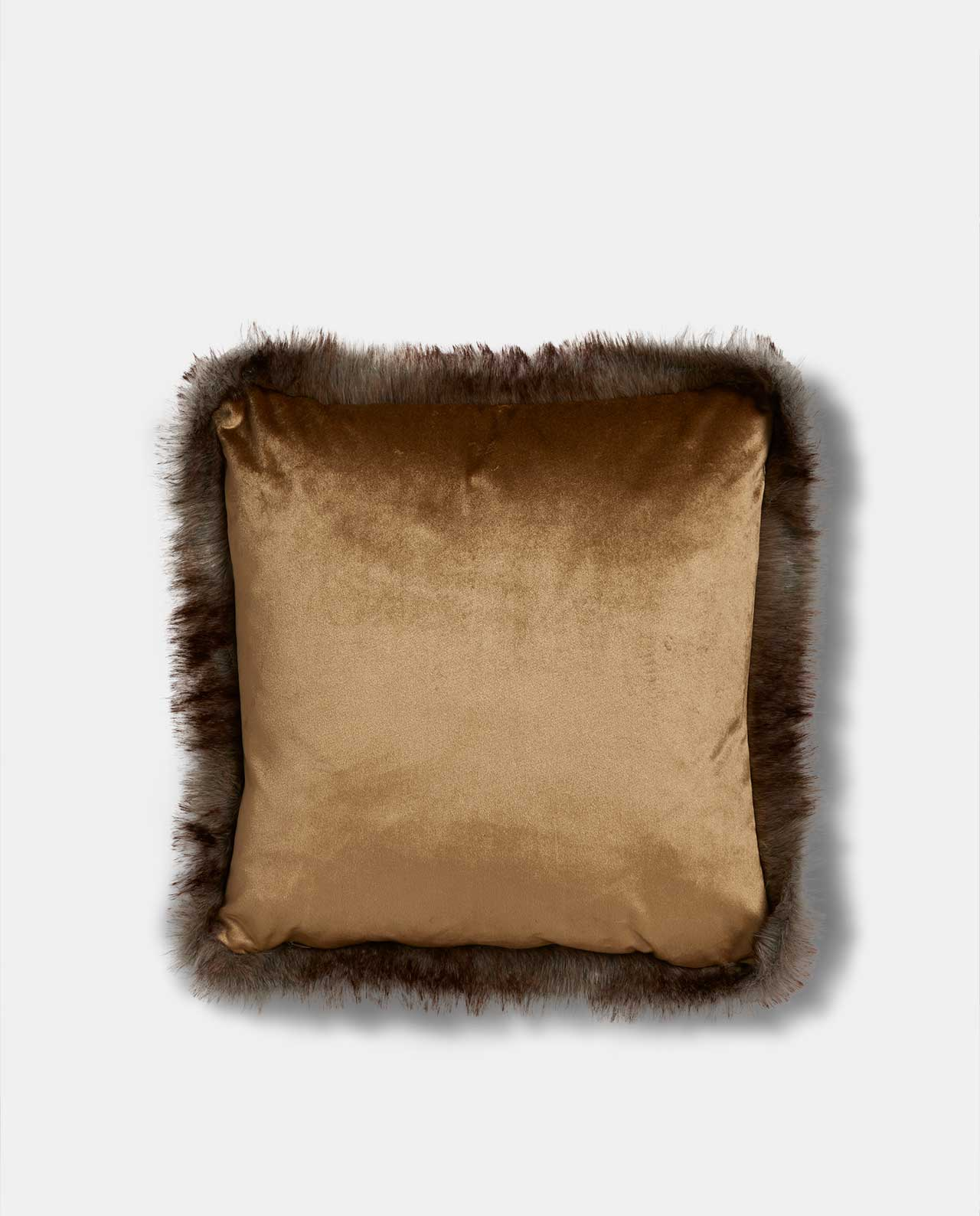 Gold Velvet Faux Fur Cushion