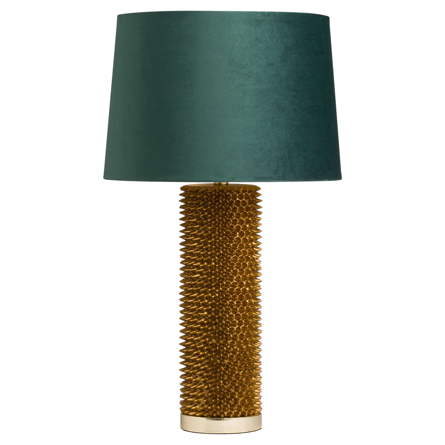 Antique Gold Acantho Table Lamp + Emerald Green Velvet Shade with Gold Lining