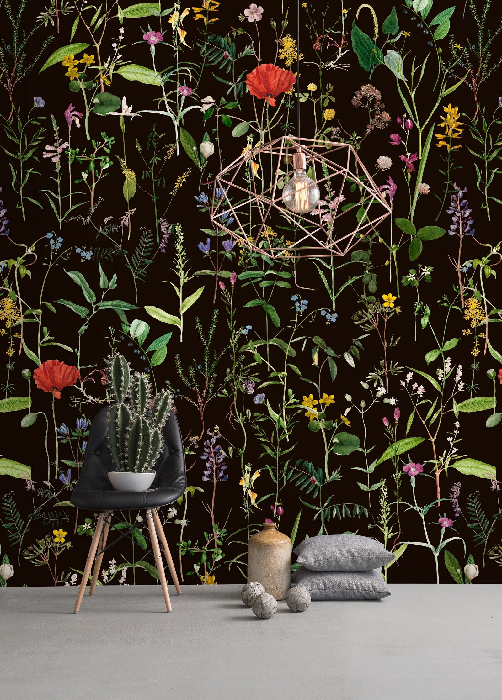 AQUAFLEUR Anthracite Wallpaper