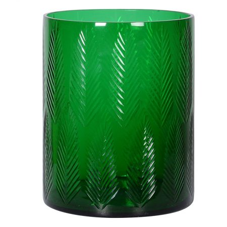Green Cut Glass Hurricane