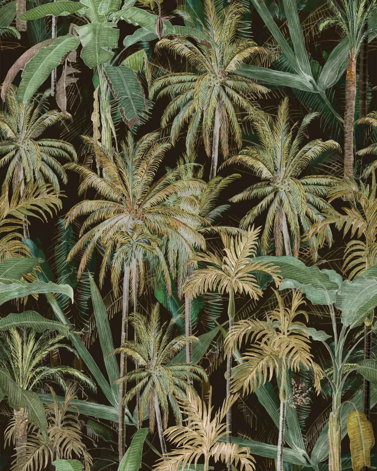 THE JUNGLE Anthracite Wallpaper