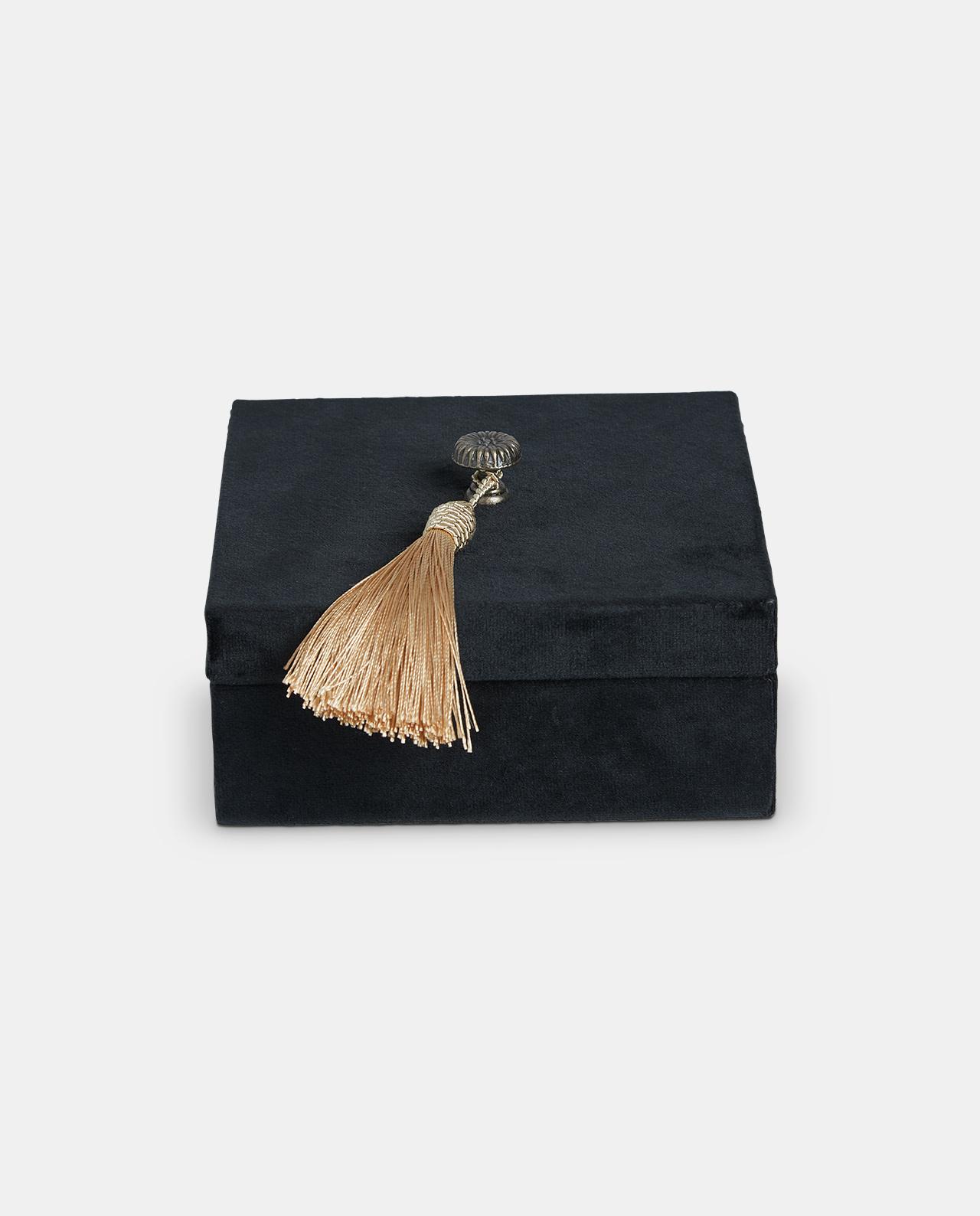 Large Black Velvet Decorative Box