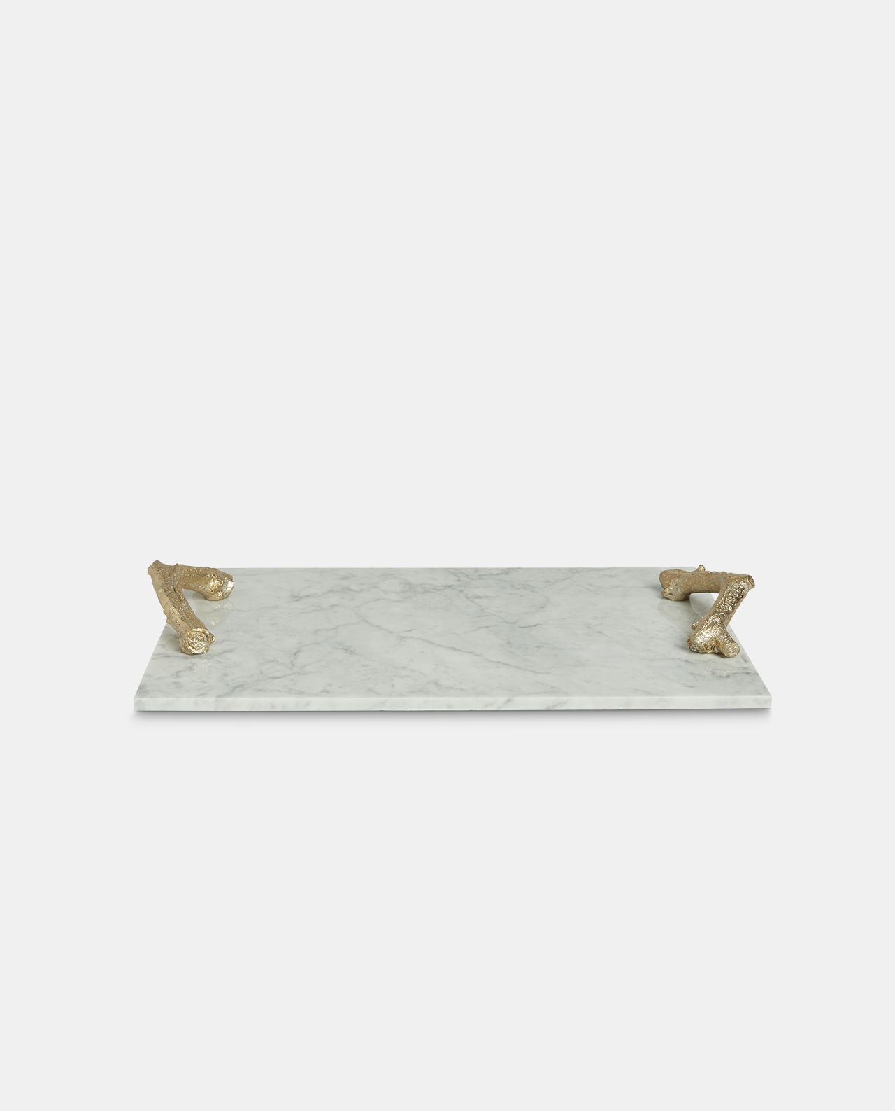 Marble Tray with Gold Handles