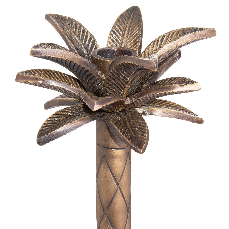 Medium Palm Tree Candle Holder Brass Finish