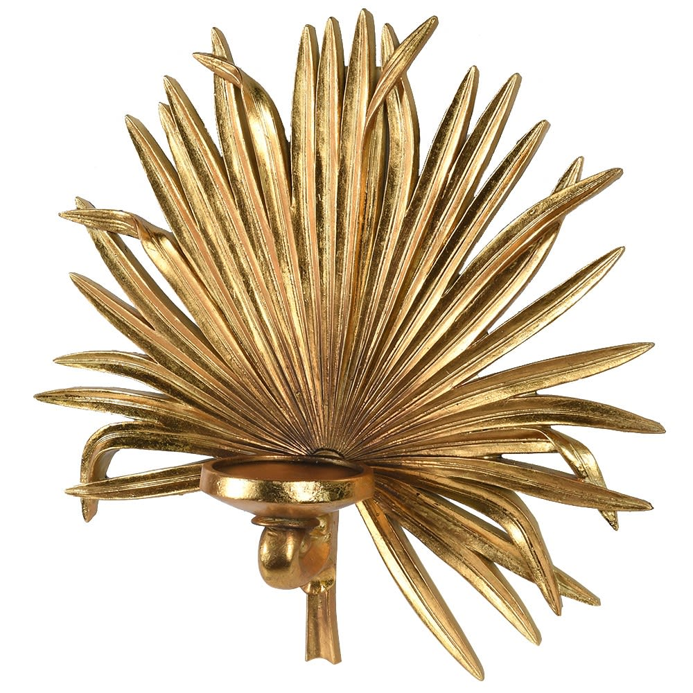 Gold Palm Leaf Wall Sconce Candle Holder