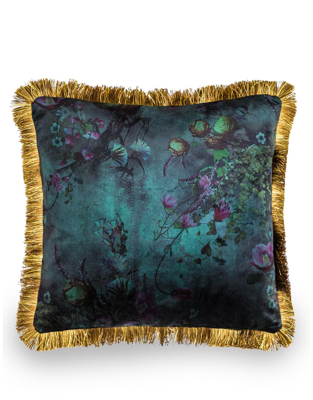 Boho Floral Velvet Dk Green Cushion with Gold Fringe Detail