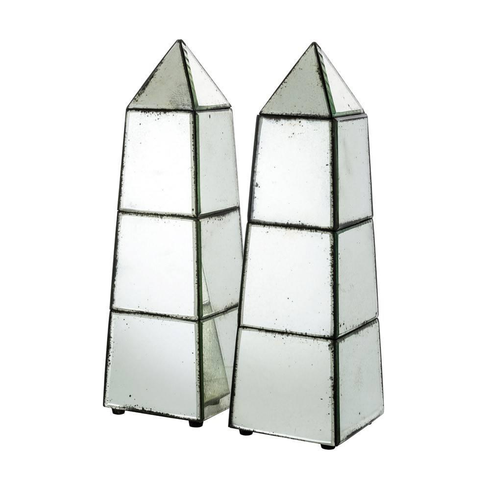 Antique Style Mirrored Obelisks