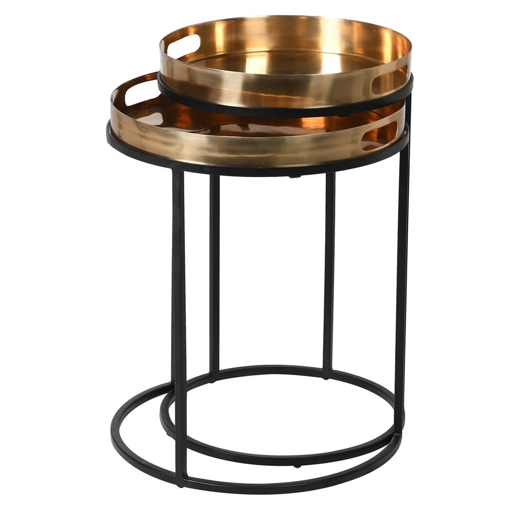 Black & Brass Set of 2 Nesting Tables