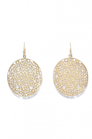 Large Textured Gold Disc Earrings