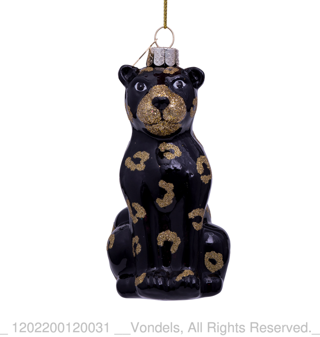 Glass Black Panther with Glitter Bauble