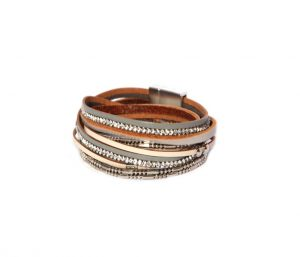 Thin Faux Leather Wrap Around Grey Bracelet