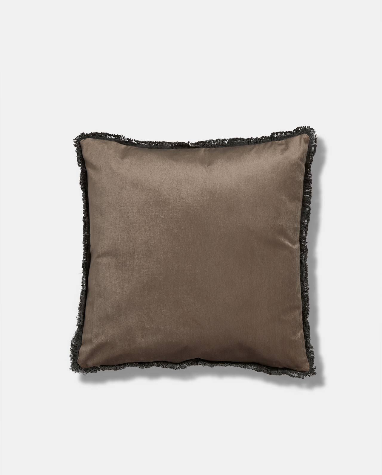 Sand Velvet Fringe Cushion