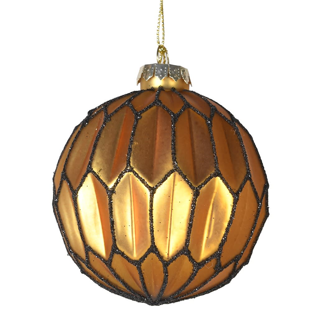 Glass Gold Honycombe Bauble