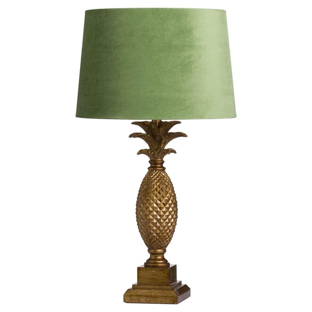 Tall Gold Pineapple Lamp With Artichoke Velvet Shade