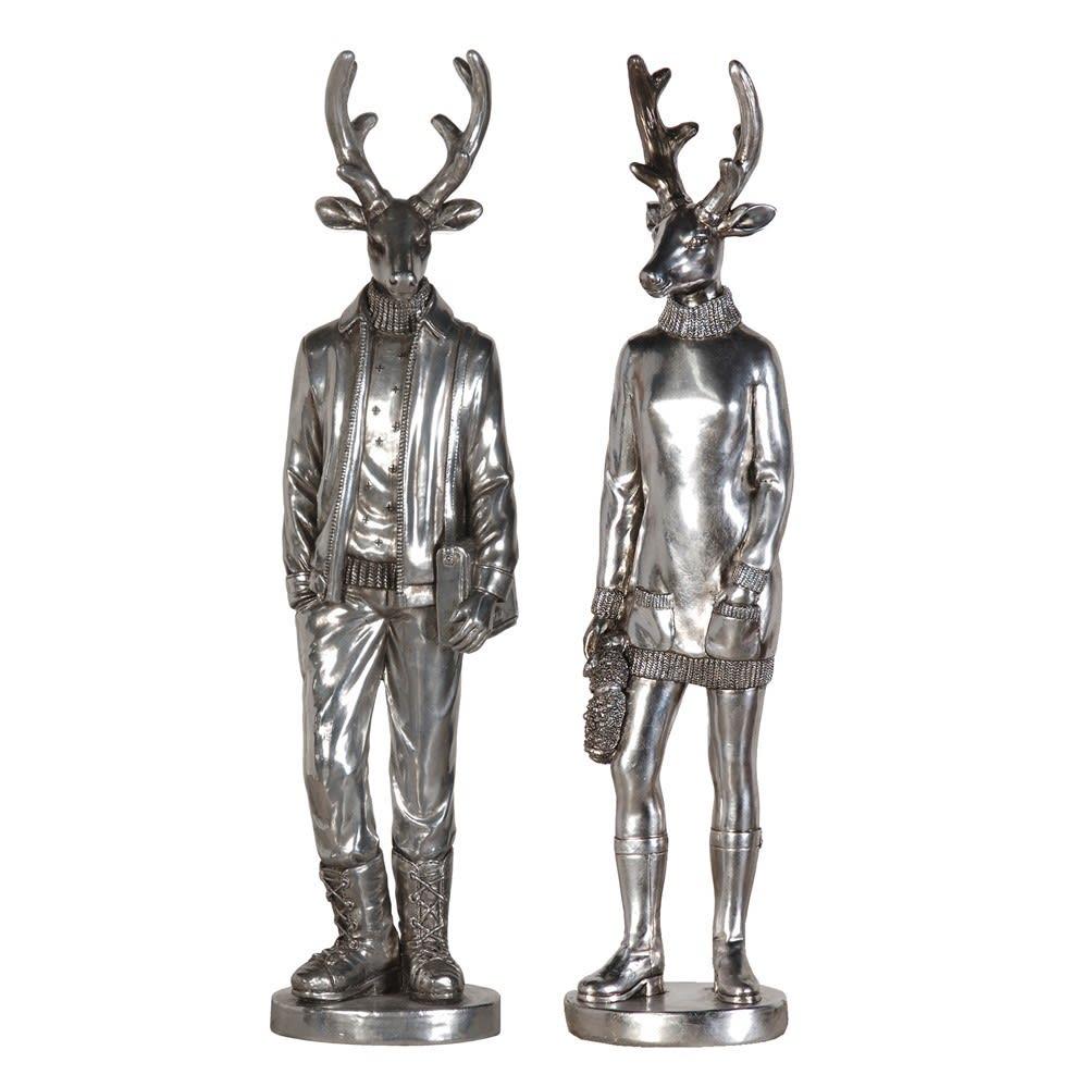 Silver Finish Mr & Mrs Deer