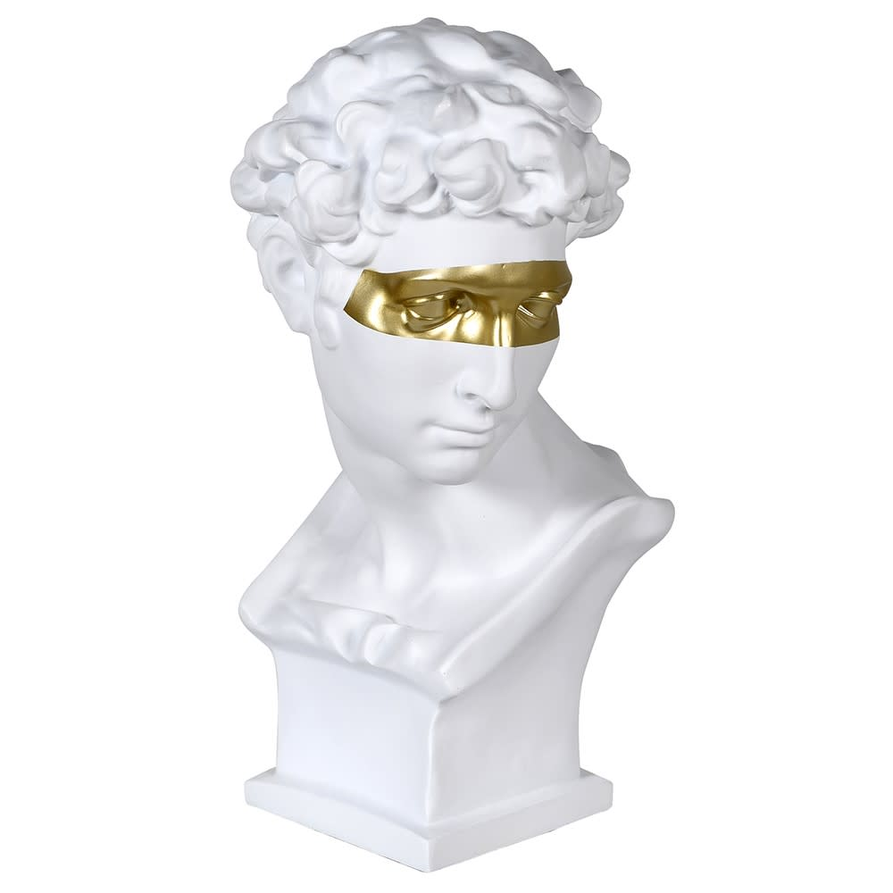 White Head Bust with Gold Mask