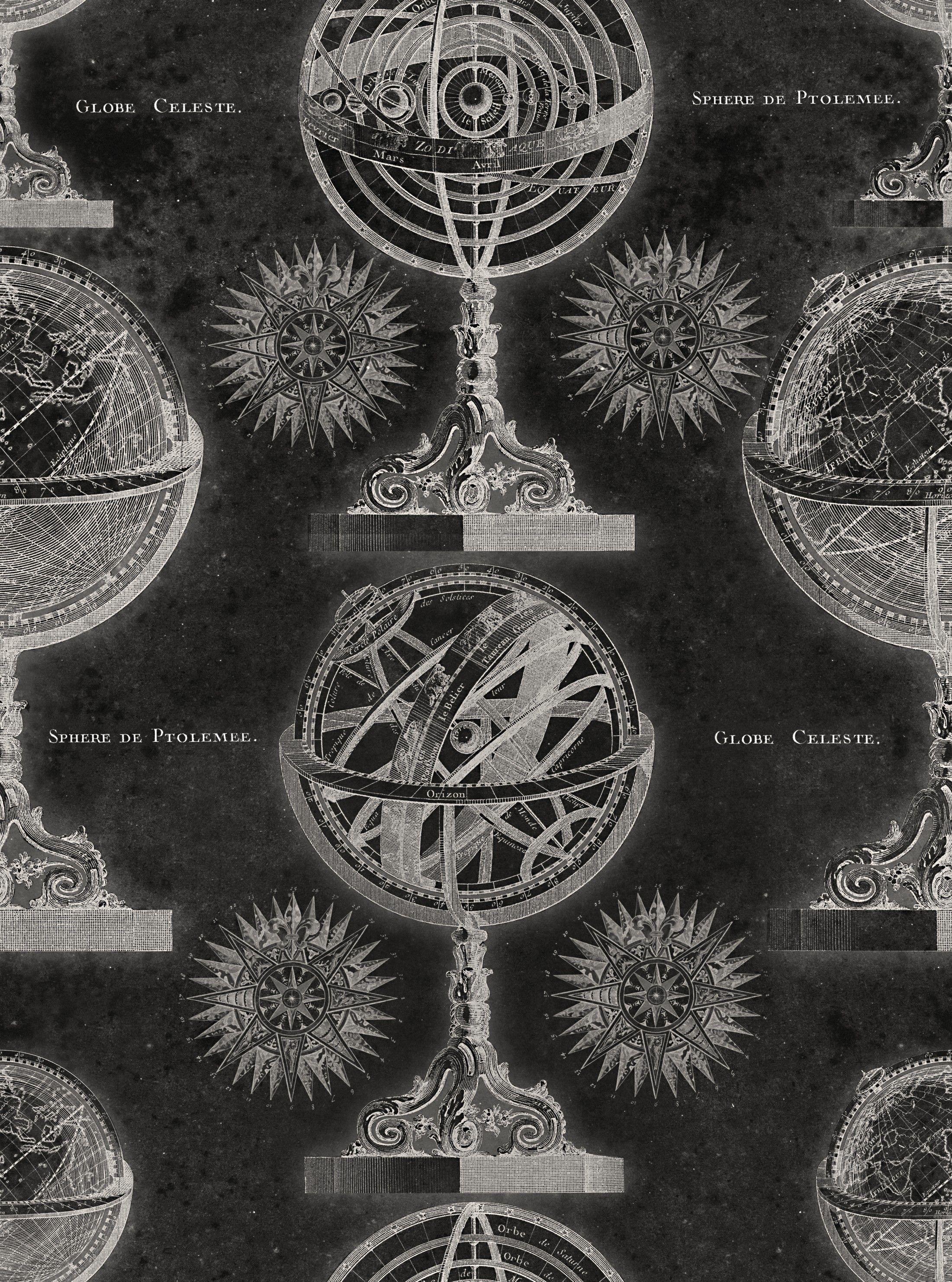 ARMILLARY Anthracite Premium Wallpaper