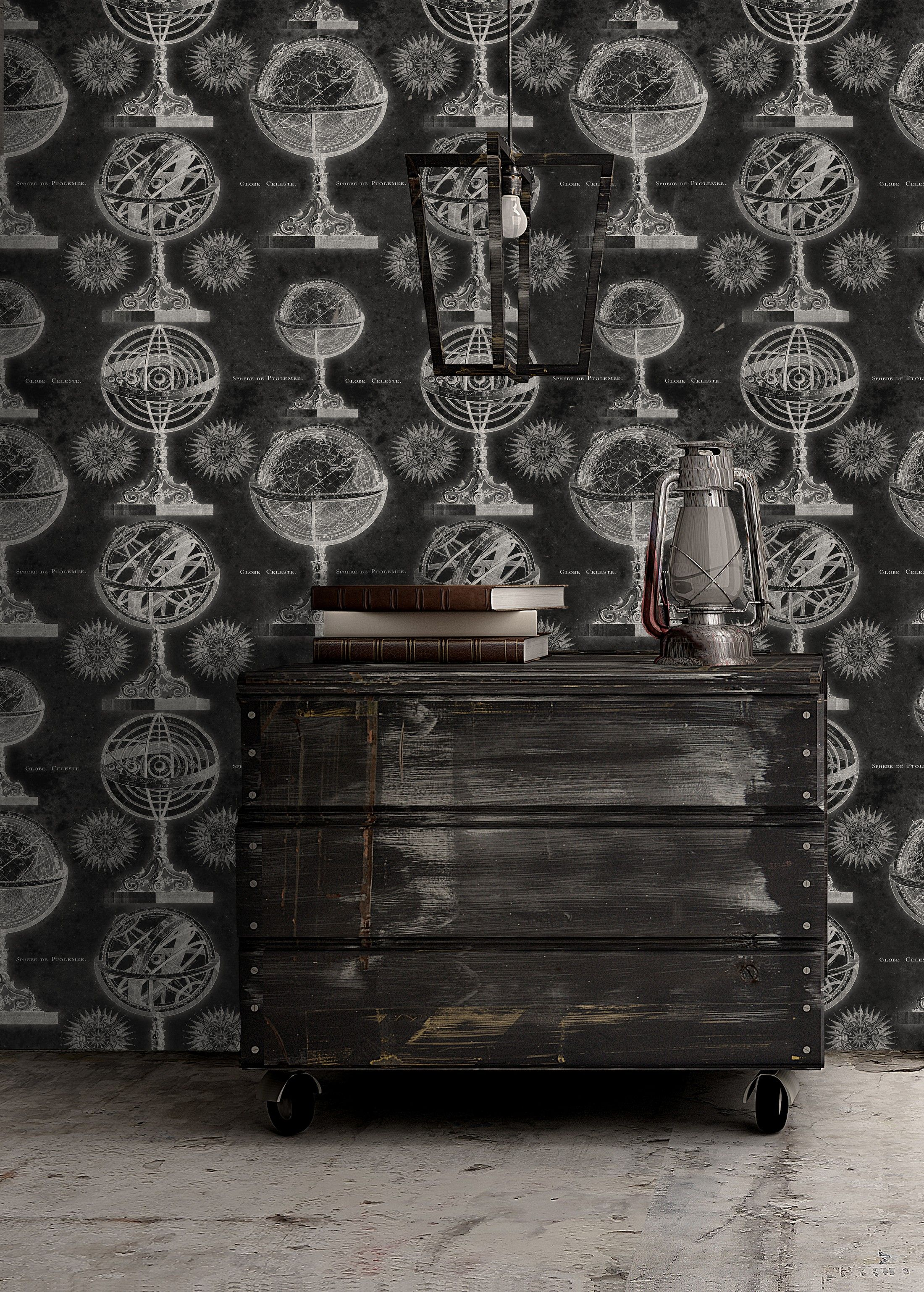 ARMILLARY Anthracite Premium Wallpaper