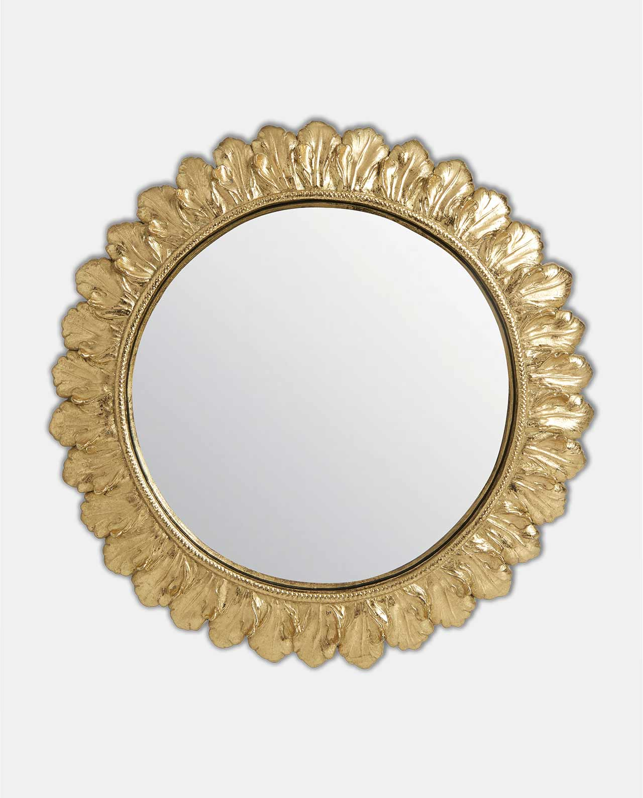 Gold Round Floral Style Convex Mirror 27cm