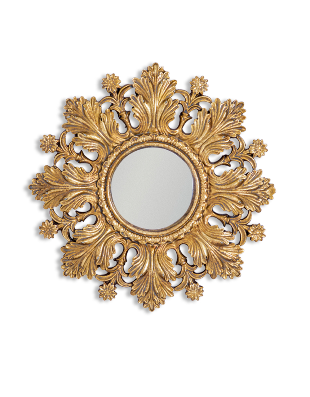 Antique Gold Floral Convex Mirror