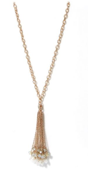 Long Gold Chain Necklace Bead/Chain Tassel