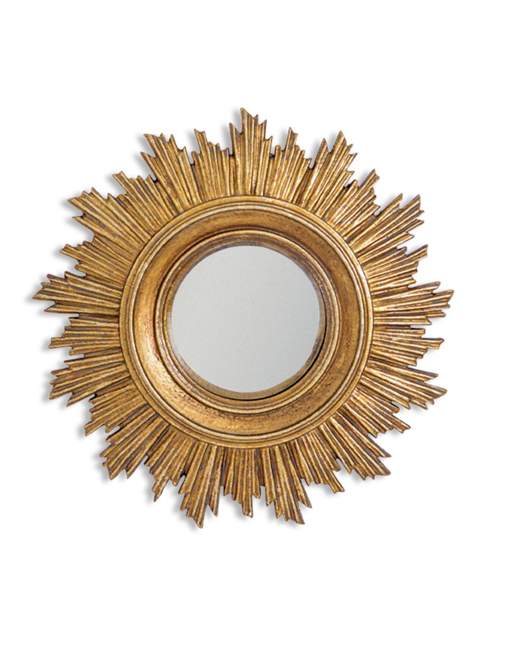 Antique Gold Burst Convex Mirror