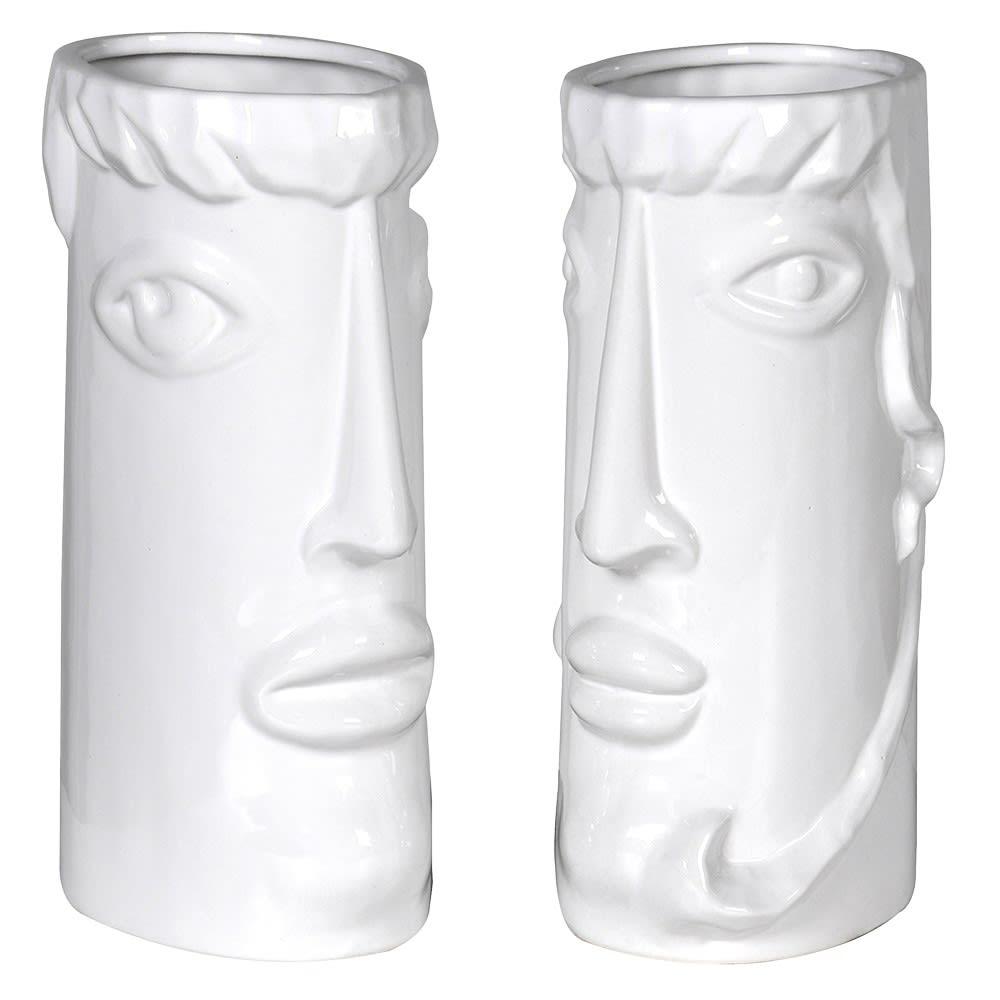 Pair White Ceramic Face Vase