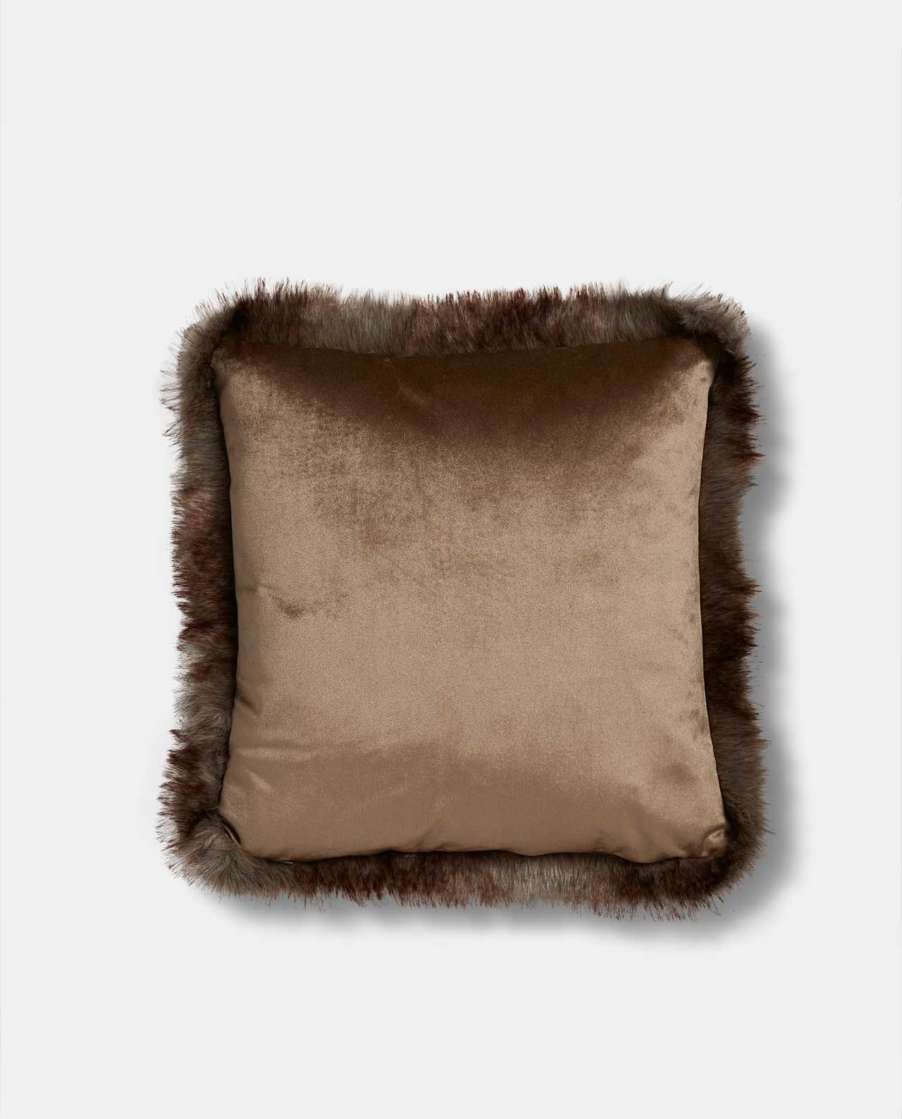Sand Velvet Faux Fur Cushion