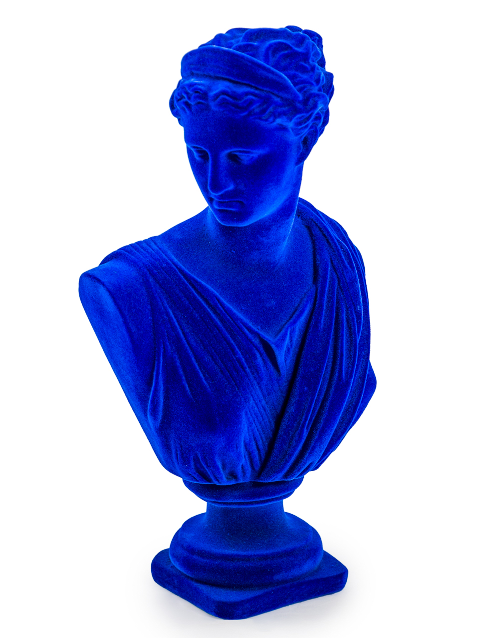 Large Flocked Artemis Bust Colbalt Blue