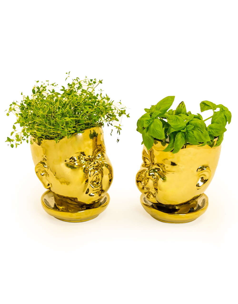 Set of 2 Gold Plated Baby Face Vase