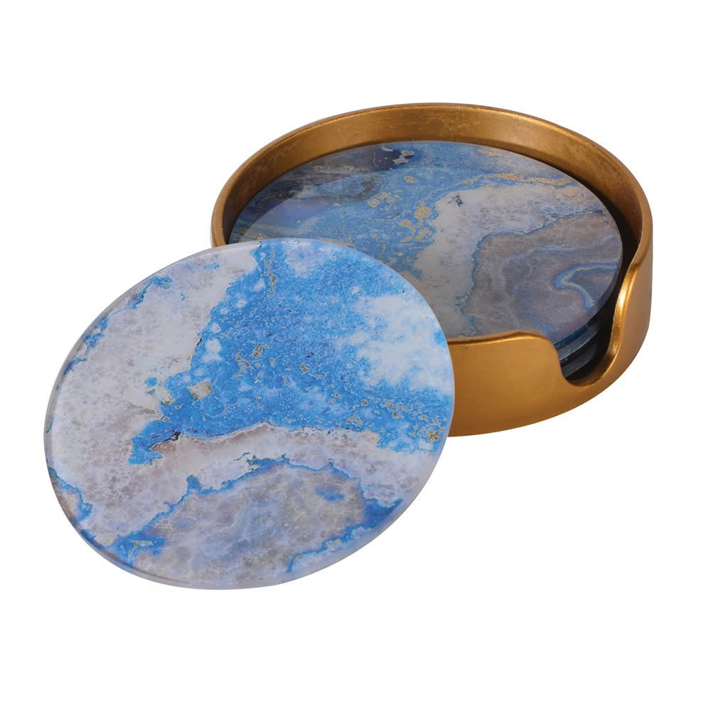 Set 4 Marble Coasters Blue