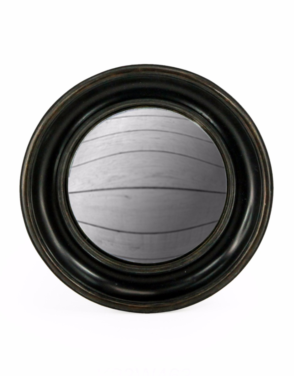 Black Round Convex Mirror