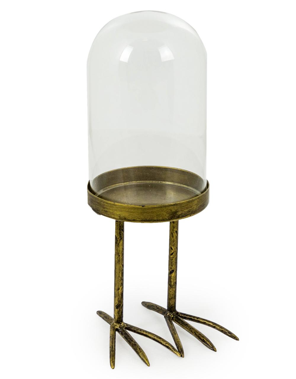Small Glass Dome on Metal Bird Feet Base
